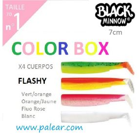 Black Minnow 70 Nº1 Flashy Color Box Vert/orange Orange/Jaune Fluo Rose Blanc Fiiish Leurres