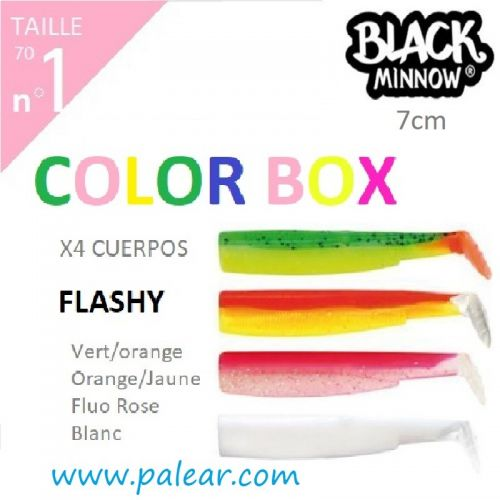 BLACK MINNOW 70 Nº1 FLASHY COLOR BOX VERT/ORANGE ORANGE/JAUNE FLUO ROSE BLANC