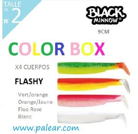 BLACK MINNOW 90 Nº2 FLASHY COLOR BOX VERT/ORANGE ORANGE/JAUNE FLUO ROSE BLANC