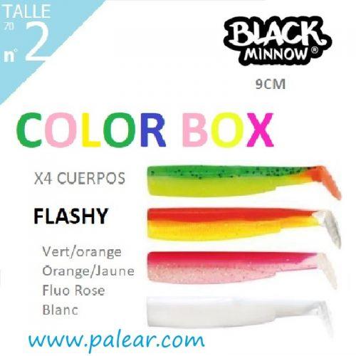 BLACK MINNOW 90 Nº2 FLASHY COLOR BOX VERT/ORANGE ORANGE/JAUNE FLUO ROSE BLANC