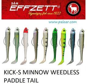 90mm Jigh. 12gr. Kick-s Minnow Weedless Paddle Tail Effzett DAM