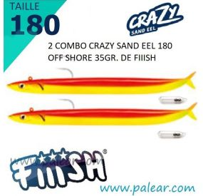 2 Combo Crazy Sand Eel 180 Off Shore 35gr + Rattle Mango Juice