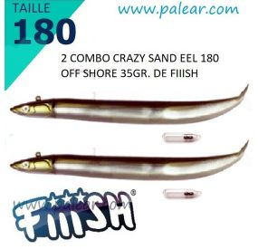 2 Combo Crazy Sand Eel 180 Off Shore 35gr + Rattle Kaki