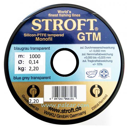 AZUL GRIS TRANSPARENTE 0.14MM GTM STROFT SILICON PTFE TEMPERED MONOFILAMENTO 1000M