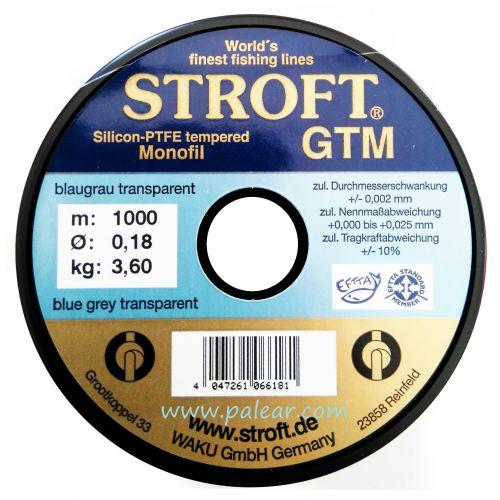 AZUL GRIS TRANSPARENTE 0.18MM GTM STROFT SILICON PTFE TEMPERED MONOFILAMENTO 1000M