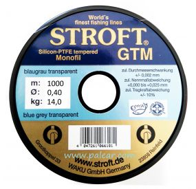 AZUL GRIS TRANSPARENTE 0.40MM GTM STROFT SILICON PTFE TEMPERED MONOFILAMENTO 1000M