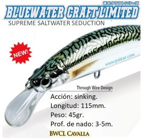 Cavalla Fast Sinking 115mm 45gr Bluewater Craft Limited Zerek