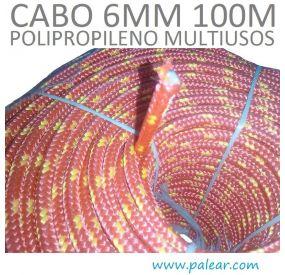 6 mm 100 metros Polipropileno Multiusos Cabo rojo y amarillo