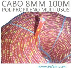8 mm 100 metros Polipropileno Multiusos Cabo rojo y amarillo