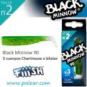 3 cuerpos Chartreuse blister Black Minnow 90 Fiiish