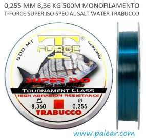 0,255 mm 8,36 kg 500 m Monofilamento T-Force Super Iso Special Salt Water Trabucco